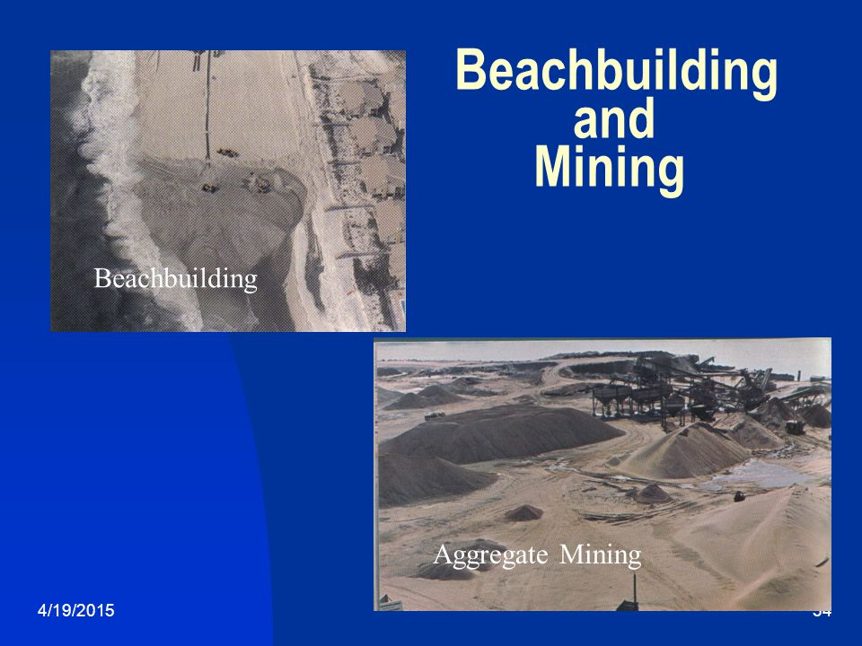 4/19/201534 Beachbuilding Aggregate Mining Beachbuilding and Mining