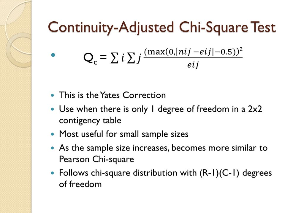 Continuity-Adjusted Chi-Square Test