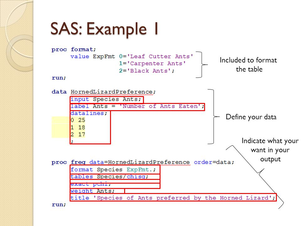 SAS: Example 1 Included to format the table Define your data Indicate what your want in your output