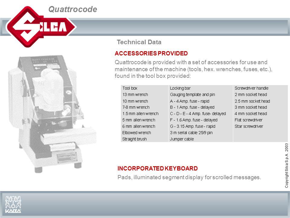 Quattrocode Copyright Silca S.p.A.