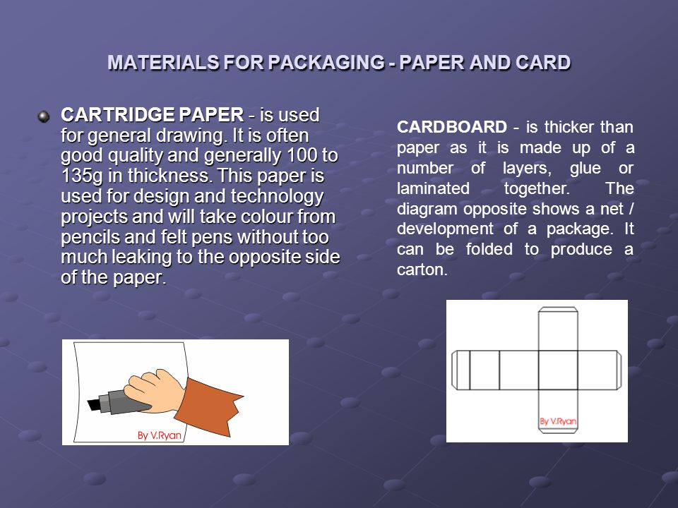 MATERIALS FOR PACKAGING - PAPER AND CARD CARTRIDGE PAPER - is used for general drawing. It is often good quality and generally 100 to 135g in thicknes