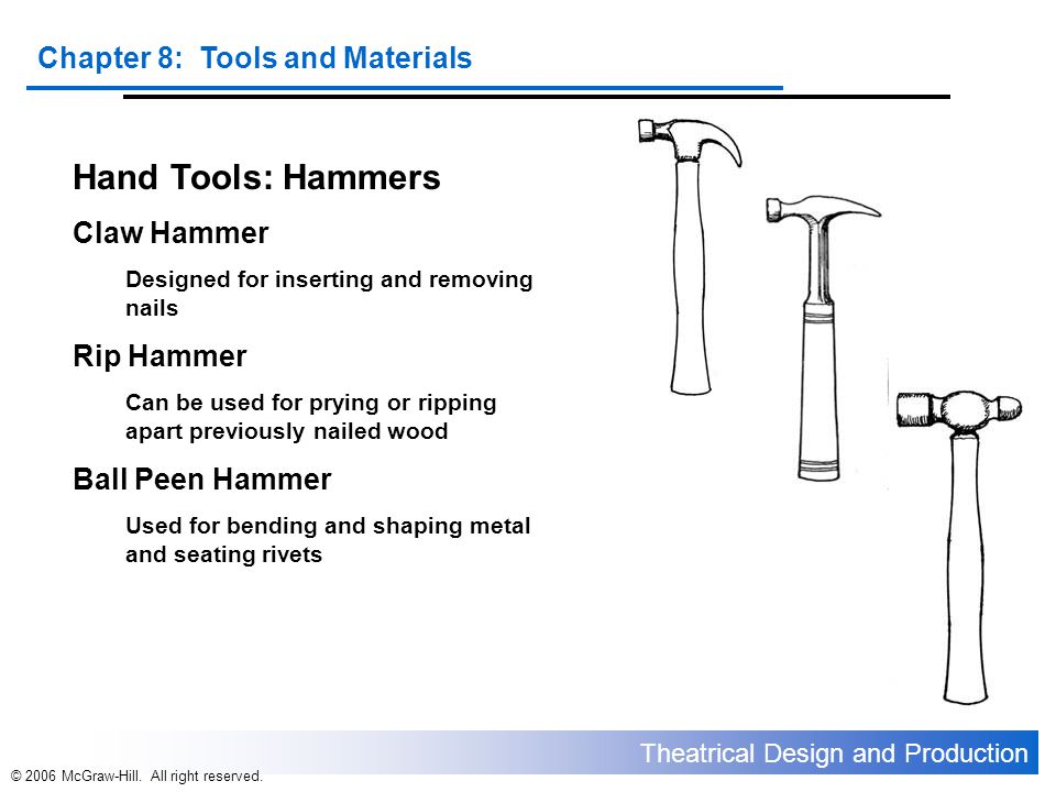 Theatrical Design and Production Chapter 8: Tools and Materials © 2006 McGraw-Hill. All right reserved. Hand Tools: Hammers Claw Hammer Designed for i