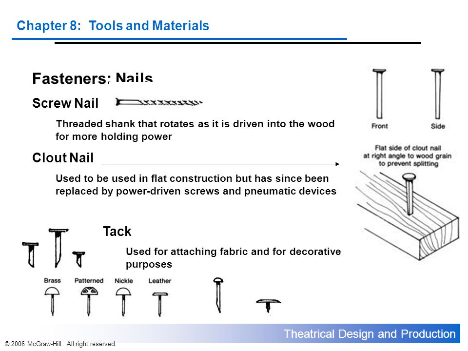 Theatrical Design and Production Chapter 8: Tools and Materials © 2006 McGraw-Hill. All right reserved. Fasteners: Nails Screw Nail Threaded shank tha