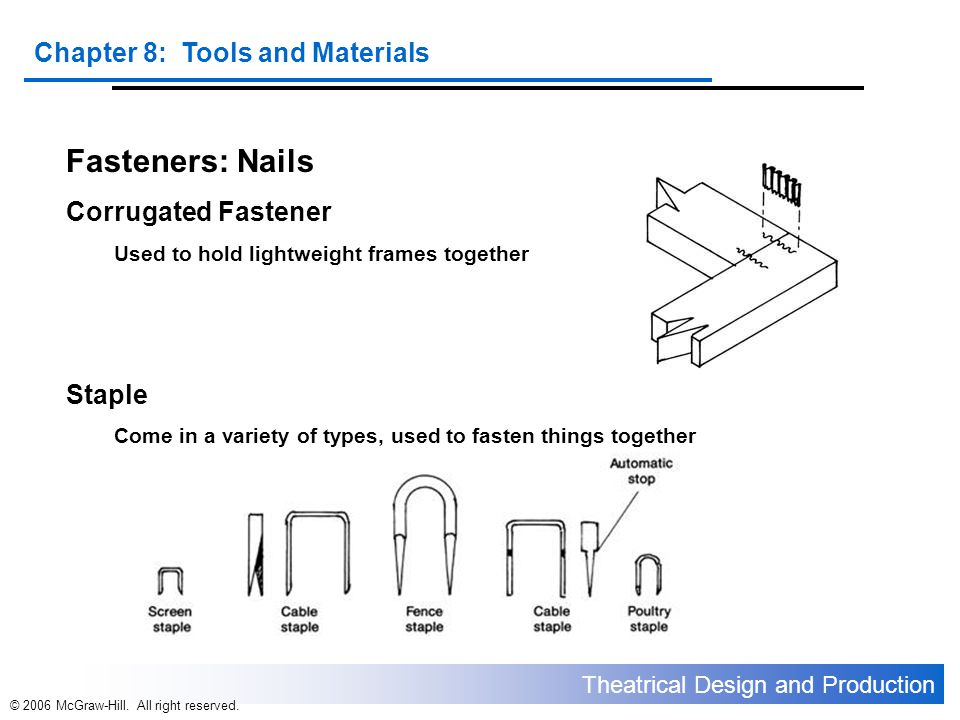 Theatrical Design and Production Chapter 8: Tools and Materials © 2006 McGraw-Hill. All right reserved. Fasteners: Nails Corrugated Fastener Used to h