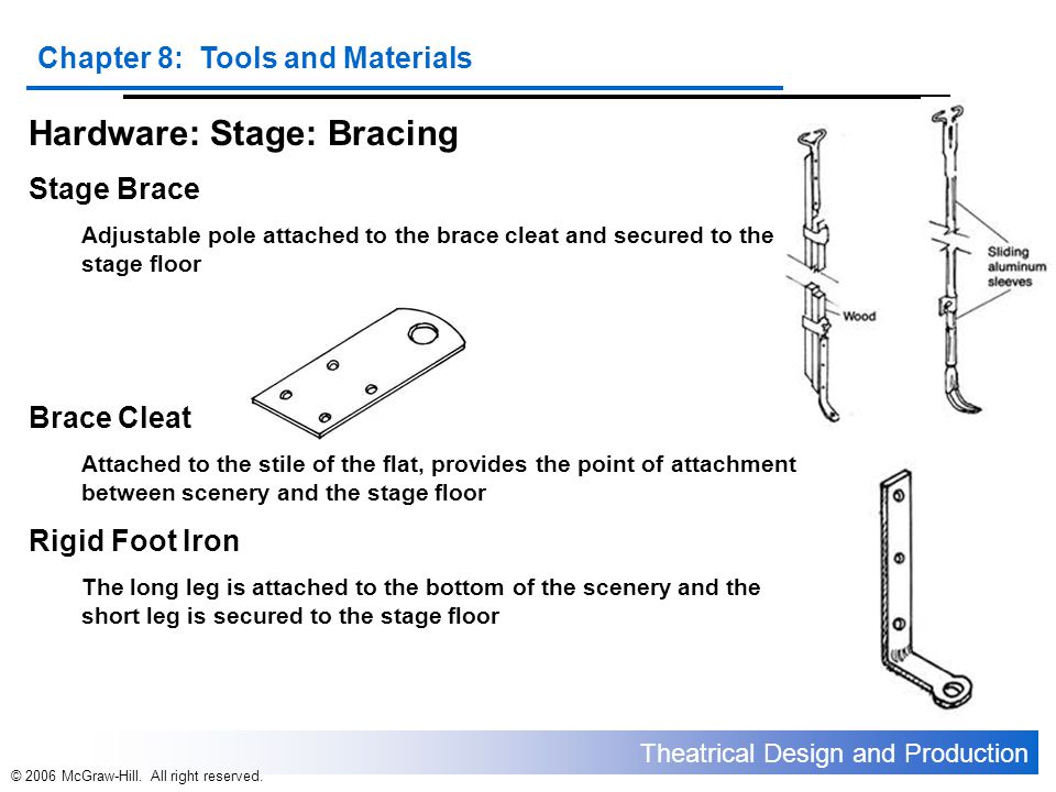 Theatrical Design and Production Chapter 8: Tools and Materials © 2006 McGraw-Hill. All right reserved. Hardware: Stage: Bracing Stage Brace Adjustabl