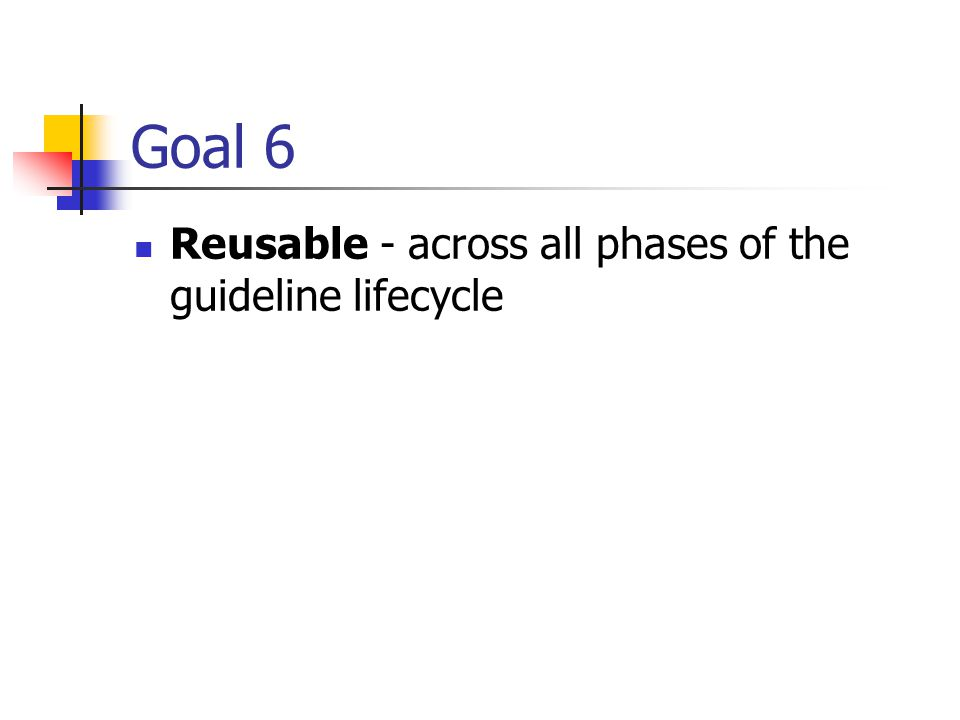 Goal 6 Reusable - across all phases of the guideline lifecycle