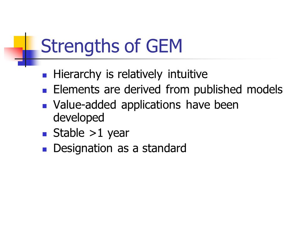Strengths of GEM Hierarchy is relatively intuitive Elements are derived from published models Value-added applications have been developed Stable >1 year Designation as a standard