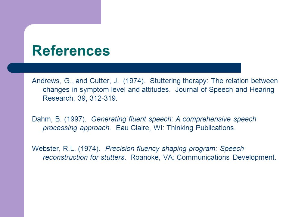 References Andrews, G., and Cutter, J. (1974).