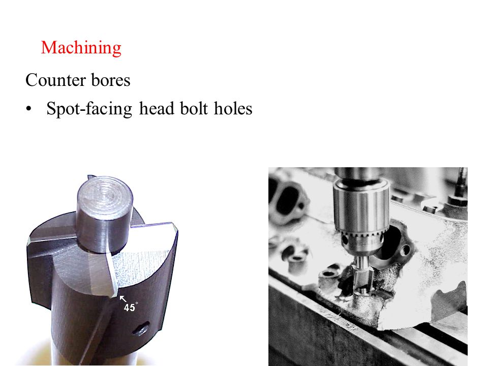 Machining Counter bores Spot-facing head bolt holes