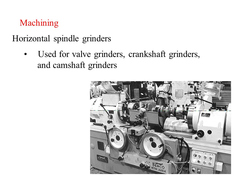 Machining Horizontal spindle grinders Used for valve grinders, crankshaft grinders, and camshaft grinders