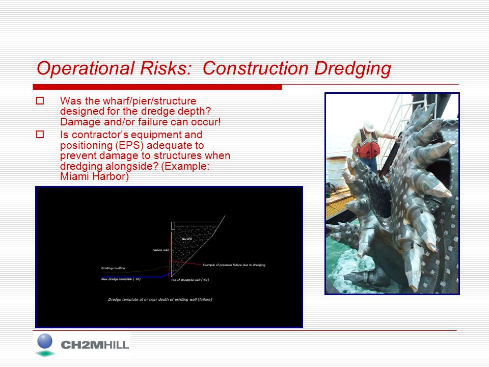 Operational Risks: Construction Dredging  Was the wharf/pier/structure designed for the dredge depth.
