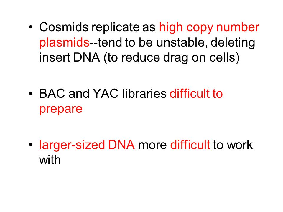 Cosmids replicate as high copy number plasmids--tend to be unstable, deleting insert DNA (to reduce drag on cells) BAC and YAC libraries difficult to