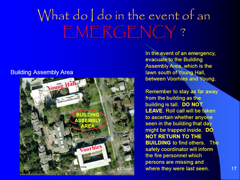 17 What do I do in the event of an EMERGENCY .