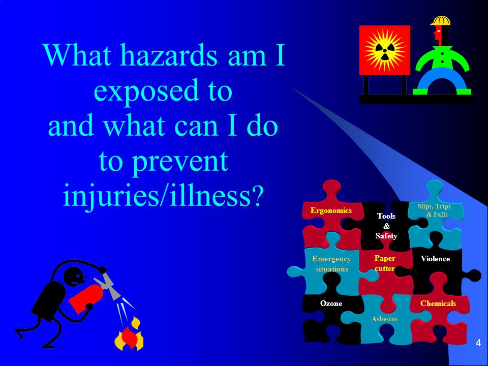 4 What hazards am I exposed to and what can I do to prevent injuries/illness .