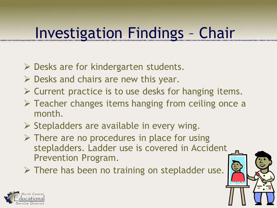 Investigation Findings – Chair  Desks are for kindergarten students.