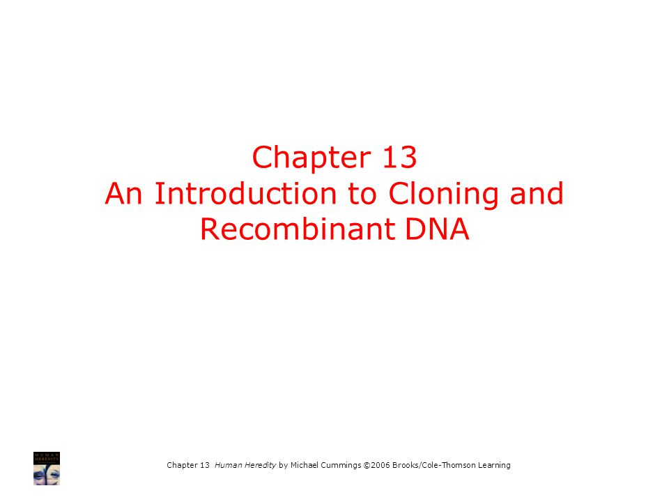 Chapter 13 Human Heredity by Michael Cummings ©2006 Brooks/Cole-Thomson Learning Chapter 13 An Introduction to Cloning and Recombinant DNA