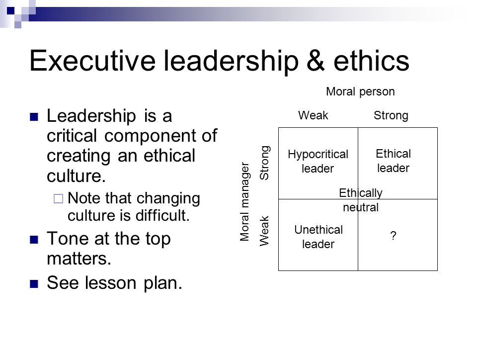 Executive leadership & ethics Leadership is a critical component of creating an ethical culture.