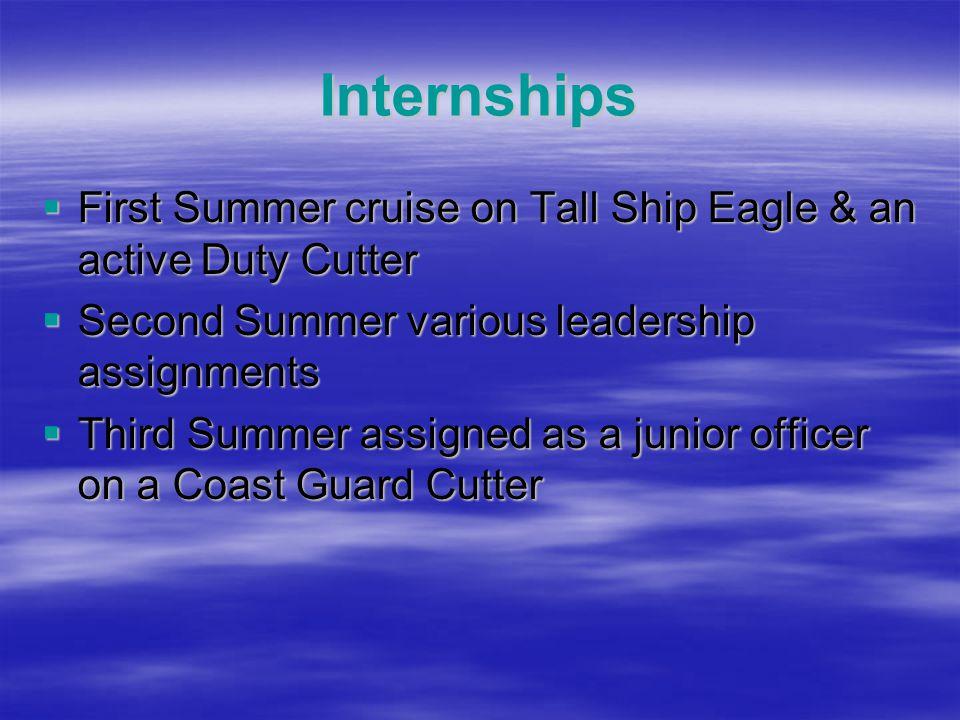 Internships  First Summer cruise on Tall Ship Eagle & an active Duty Cutter  Second Summer various leadership assignments  Third Summer assigned as a junior officer on a Coast Guard Cutter