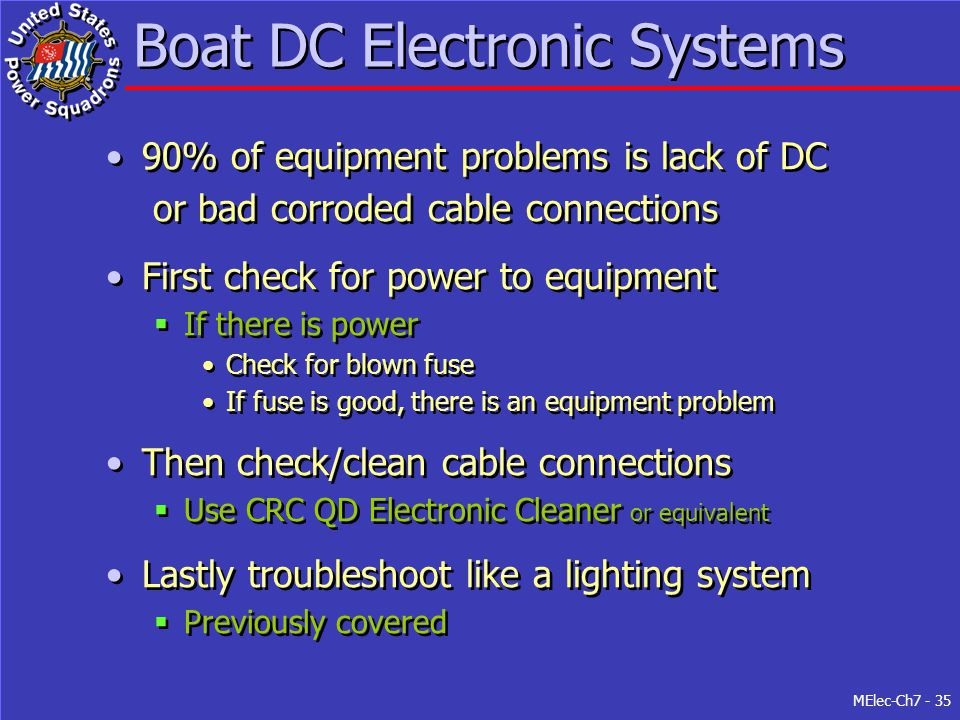MElec-Ch7 - 35 Boat DC Electronic Systems 90% of equipment problems is lack of DC or bad corroded cable connections First check for power to equipment