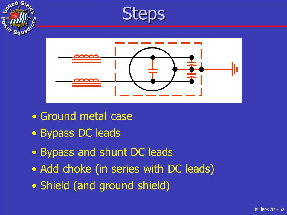 MElec-Ch7 - 62 Steps Ground metal case Shield (and ground shield) Bypass DC leads Bypass and shunt DC leads Add choke (in series with DC leads)