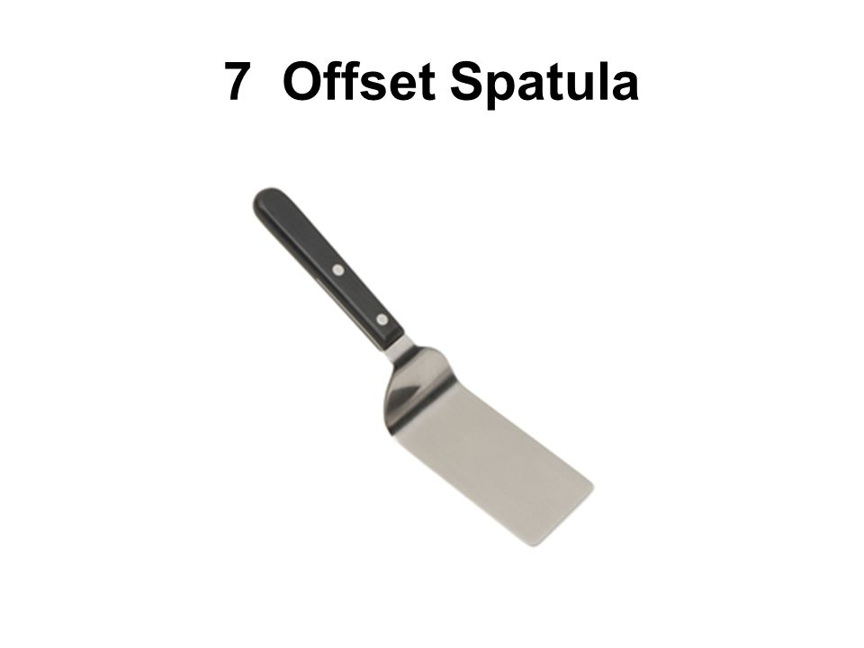 7 Offset Spatulas An offset spatula, or turner, has a broad stainless steel blade that is bent to keep the users hands off the hot surfaces.