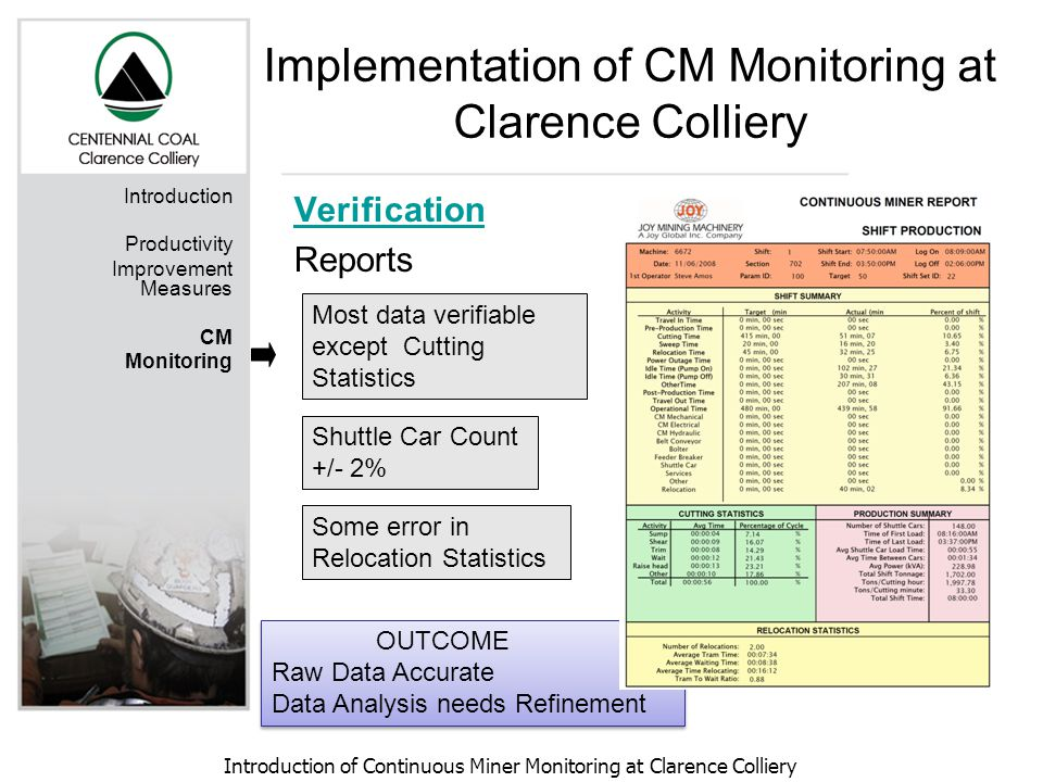 Introduction of Continuous Miner Monitoring at Clarence Colliery Introduction Productivity Improvement Measures CM Monitoring Verification Reports Most data verifiable except Cutting Statistics Shuttle Car Count +/- 2% Some error in Relocation Statistics OUTCOME Raw Data Accurate Data Analysis needs Refinement OUTCOME Raw Data Accurate Data Analysis needs Refinement Implementation of CM Monitoring at Clarence Colliery