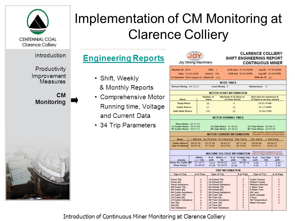 Introduction of Continuous Miner Monitoring at Clarence Colliery Introduction Productivity Improvement Measures CM Monitoring Engineering Reports Shift, Weekly & Monthly Reports Comprehensive Motor Running time, Voltage and Current Data 34 Trip Parameters Implementation of CM Monitoring at Clarence Colliery