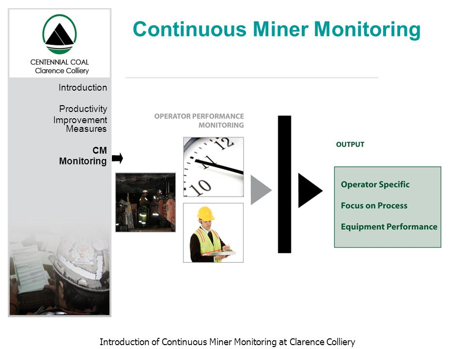 Introduction of Continuous Miner Monitoring at Clarence Colliery Continuous Miner Monitoring Introduction Productivity Improvement Measures CM Monitor