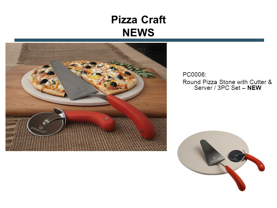 Pizza Craft NEWS PC0006: Round Pizza Stone with Cutter & Server / 3PC Set – NEW
