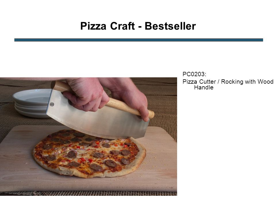 PC0203: Pizza Cutter / Rocking with Wood Handle Pizza Craft - Bestseller