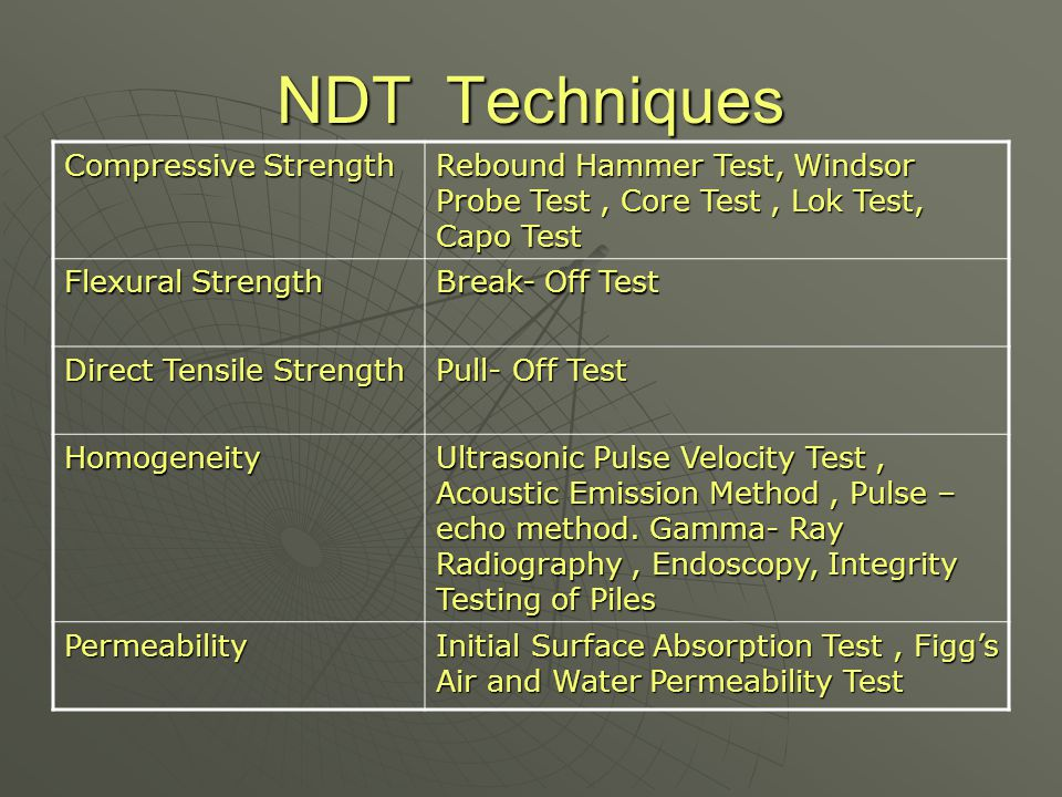 NDT Techniques Compressive Strength Rebound Hammer Test, Windsor Probe Test, Core Test, Lok Test, Capo Test Flexural Strength Break- Off Test Direct T