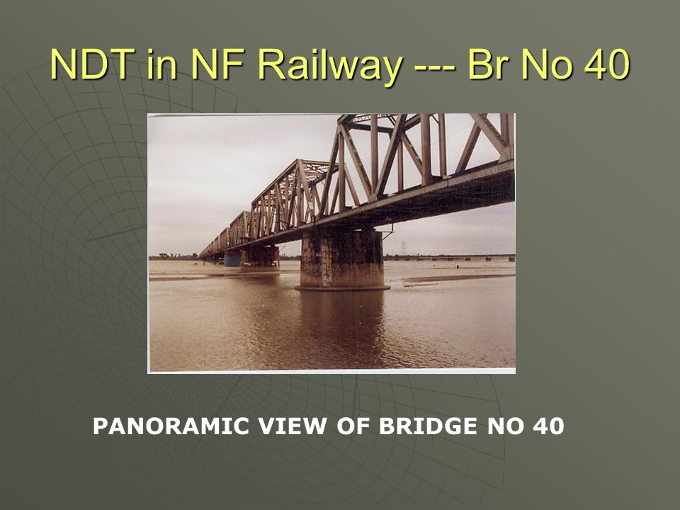 NDT in NF Railway --- Br No 184 UPV Test  Interestingly, the velocity of pulse ranged from 0.668 to 1.45km/sec for Pier No 2 and from 0.673 to 1.32 Km/sec for Pier No P3  This placed the concrete quality as doubtful according to the UPVvalues as per IS:13311(Part I)  Next Logical step was to carry out the Concrete Core Strength Tests and do the Chemical Analysis.