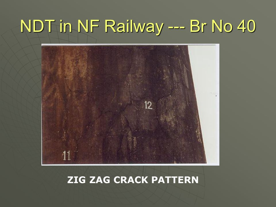 NDT in NF Railway --- Br No 40 Chemical Analysis- Test Results  As per IS 456 -2000, the PH should not be less than.Test results reveals that concrete is basic in nature and so no deterioration due to acidic nature was envisaged.