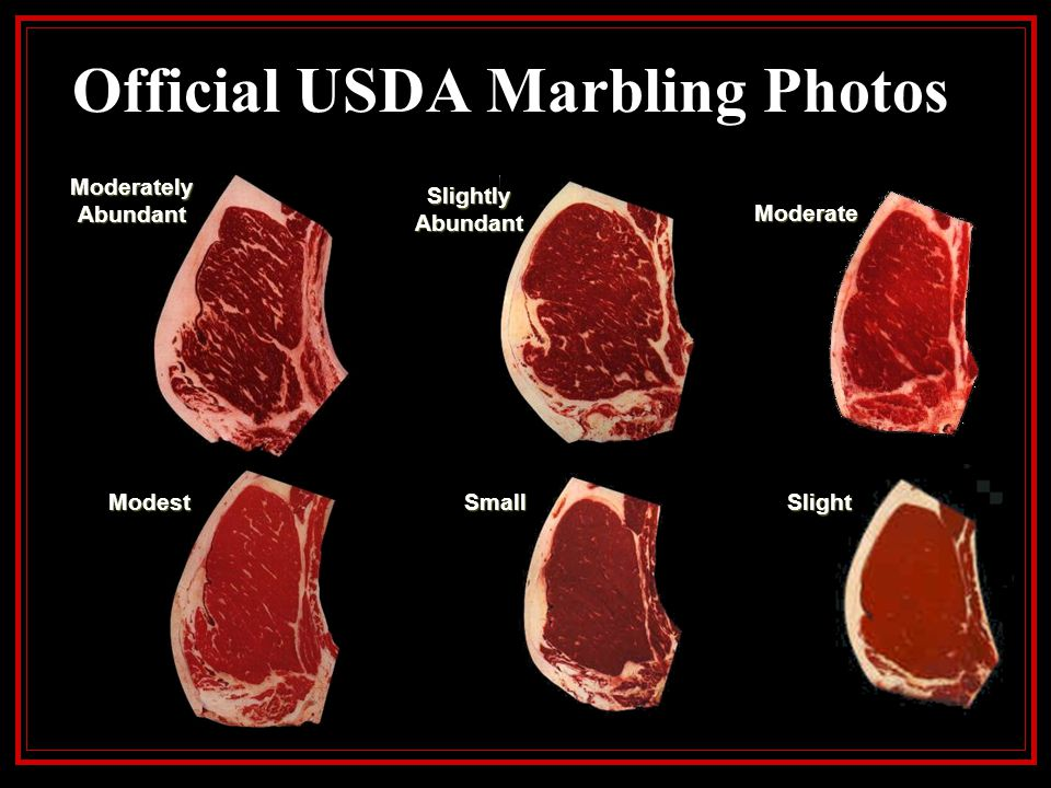 Official USDA Marbling Photos USDA Prime: Prime grade beef is the ultimate in tenderness, juiciness, and flavor.