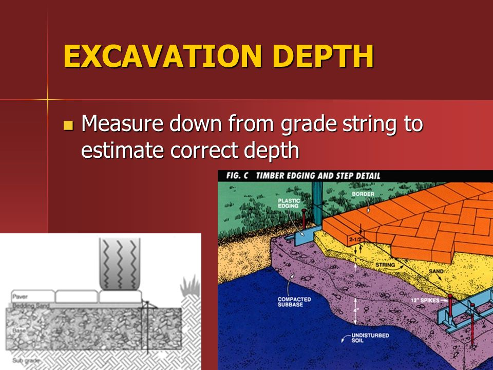 EXCAVATION DEPTH Measure down from grade string to estimate correct depth Measure down from grade string to estimate correct depth