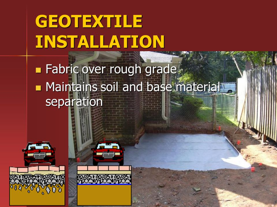 GEOTEXTILE INSTALLATION Fabric over rough grade Fabric over rough grade Maintains soil and base material separation Maintains soil and base material separation