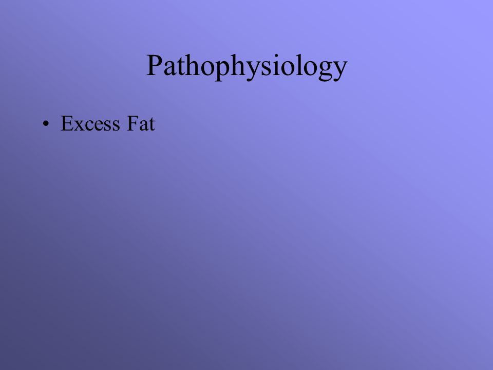 Pathophysiology Excess Fat