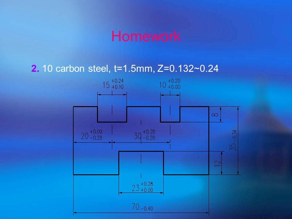 Homework  Page45.No3 and No 4  2 supplements 1. 20 carbon steel t=3mm Z=0.46~0.64