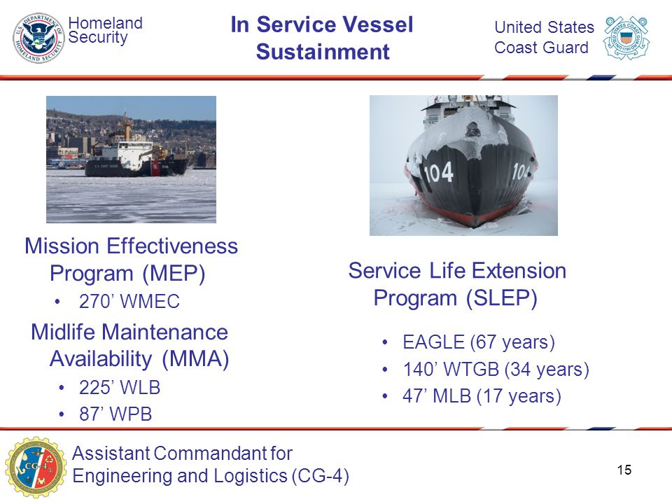 Assistant Commandant for Engineering and Logistics (CG-4) Homeland Security United States Coast Guard In Service Vessel Sustainment Mission Effectiveness Program (MEP) 270' WMEC Midlife Maintenance Availability (MMA) 225' WLB 87' WPB Service Life Extension Program (SLEP) EAGLE (67 years) 140' WTGB (34 years) 47' MLB (17 years) 15