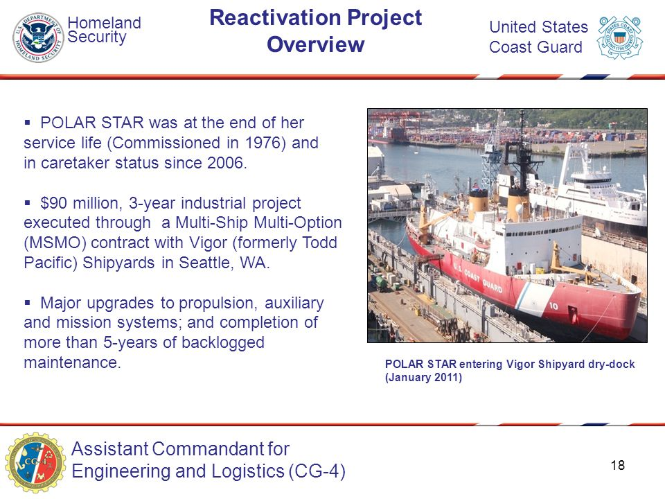 Assistant Commandant for Engineering and Logistics (CG-4) Homeland Security United States Coast Guard Reactivation Project Overview  POLAR STAR was a