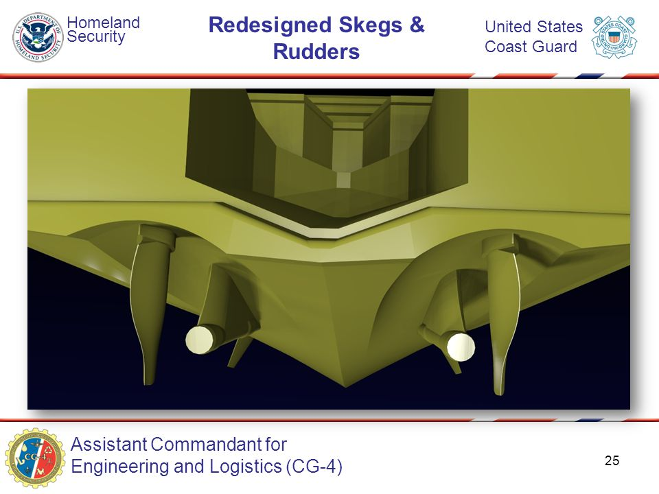 Assistant Commandant for Engineering and Logistics (CG-4) Homeland Security United States Coast Guard Redesigned Skegs & Rudders 25
