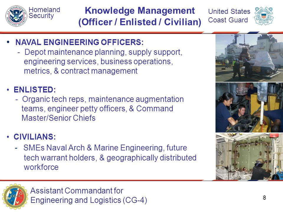 Assistant Commandant for Engineering and Logistics (CG-4) Homeland Security United States Coast Guard Knowledge Management (Officer / Enlisted / Civil