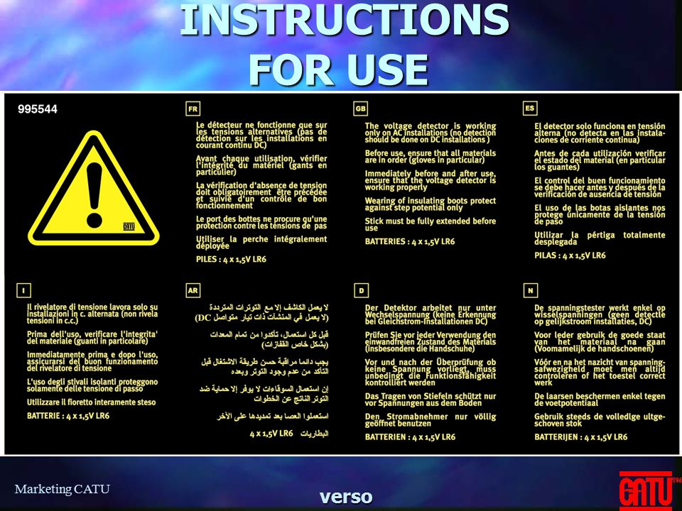 Marketing CATU INSTRUCTIONS FOR USE INSTRUCTIONS FOR USEverso