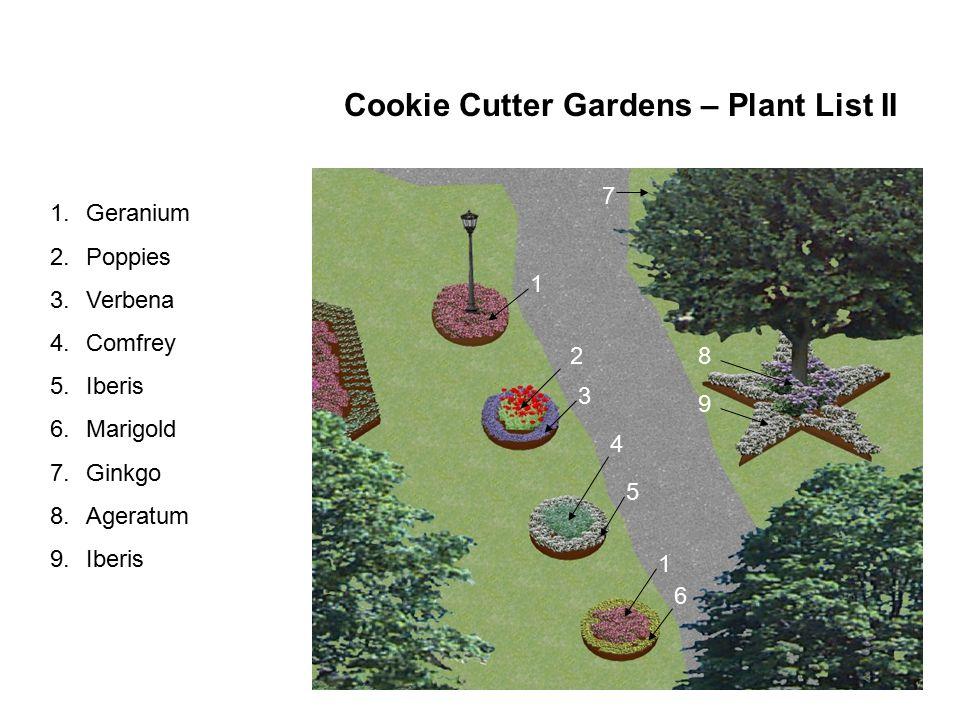1.Geranium 2.Poppies 3.Verbena 4.Comfrey 5.Iberis 6.Marigold 7.Ginkgo 8.Ageratum 9.Iberis 1 2 3 4 5 1 6 7 8 9 Cookie Cutter Gardens – Plant List II