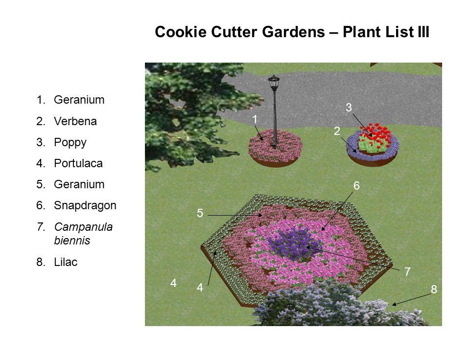 1 2 3 4 4 5 6 7 1.Geranium 2.Verbena 3.Poppy 4.Portulaca 5.Geranium 6.Snapdragon 7.Campanula biennis 8.Lilac 8 Cookie Cutter Gardens – Plant List III