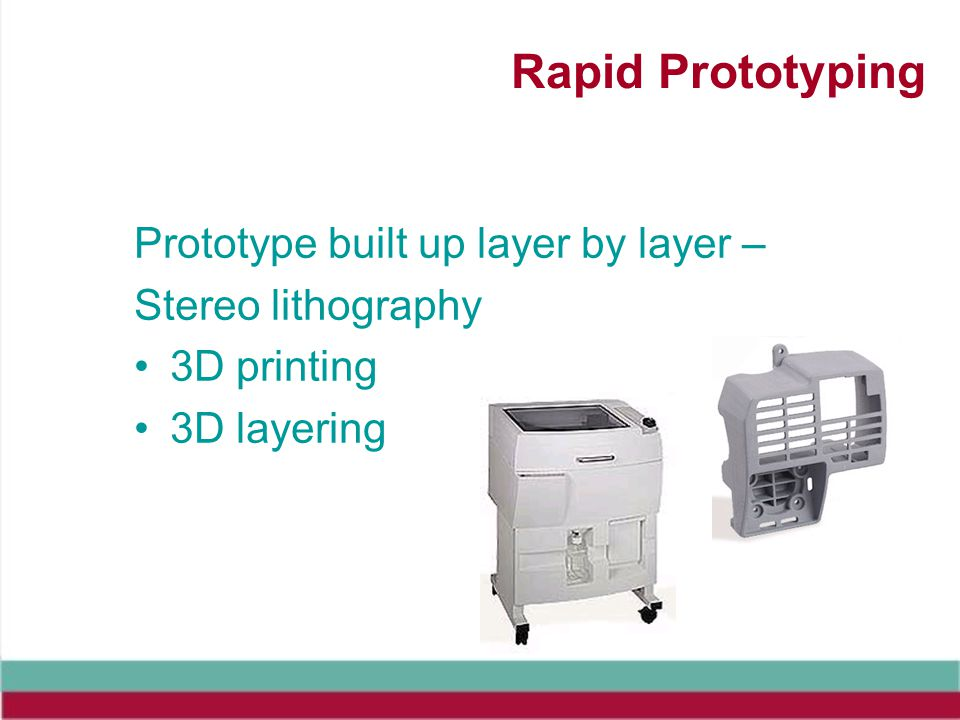 Rapid Prototyping Prototype built up layer by layer – Stereo lithography 3D printing 3D layering
