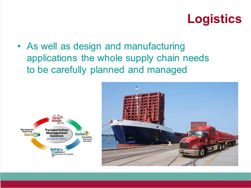Logistics As well as design and manufacturing applications the whole supply chain needs to be carefully planned and managed