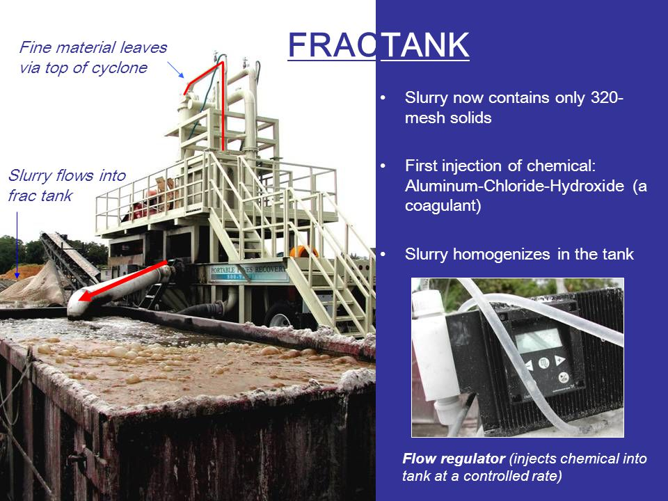 FRACTANK Slurry now contains only 320- mesh solids First injection of chemical: Aluminum-Chloride-Hydroxide (a coagulant) Slurry homogenizes in the tank Fine material leaves via top of cyclone Slurry flows into frac tank Flow regulator (injects chemical into tank at a controlled rate)