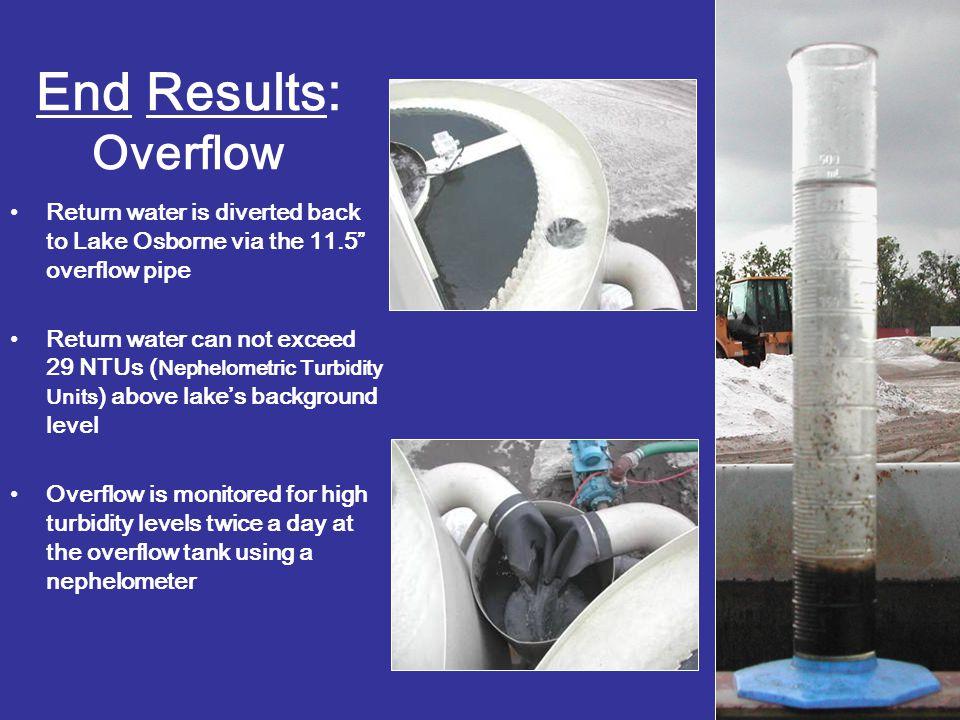 "End Results: Overflow Return water is diverted back to Lake Osborne via the 11.5"" overflow pipe Return water can not exceed 29 NTUs ( Nephelometric Tu"