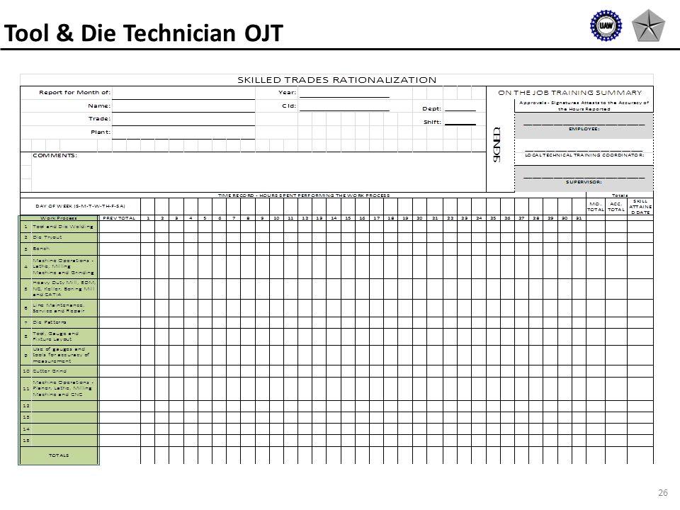 26 Tool & Die Technician OJT